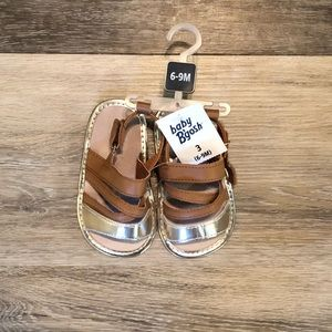NWT Baby B'Gosh Brown and Gold Sandals